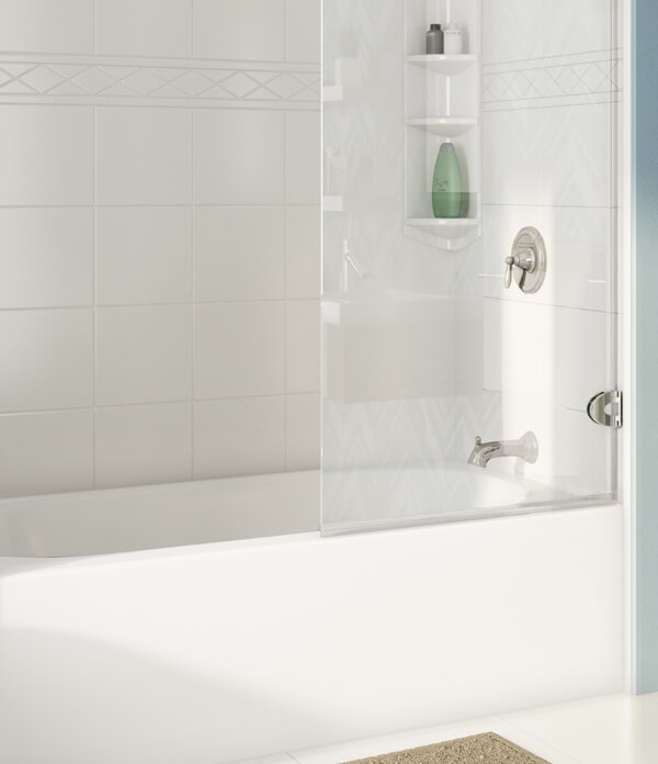 Aristrocat bathtub with sliding glass door and padova wall