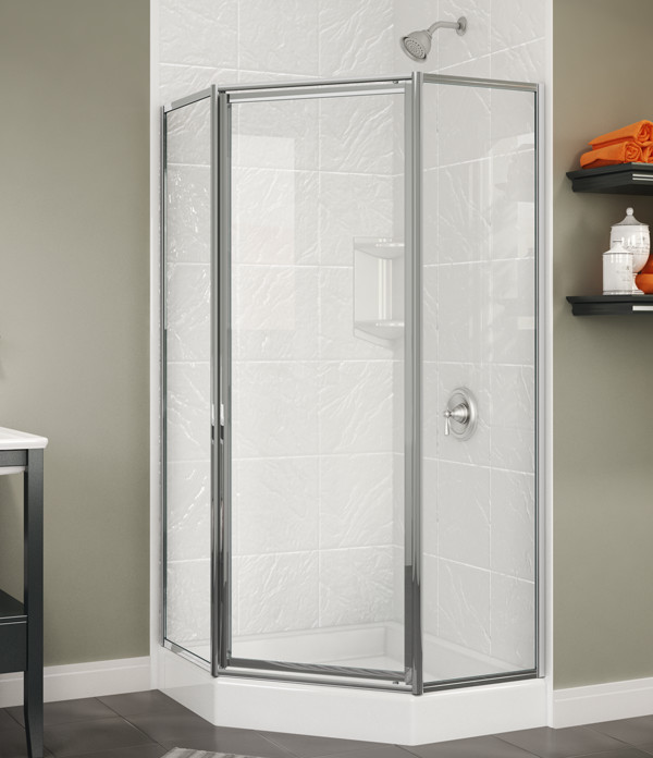 glass shower enclosures with a ceramic tiling wall