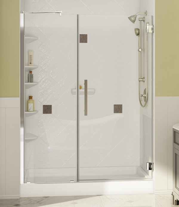 front view tub-to-shower conversion with glass door and verona wall