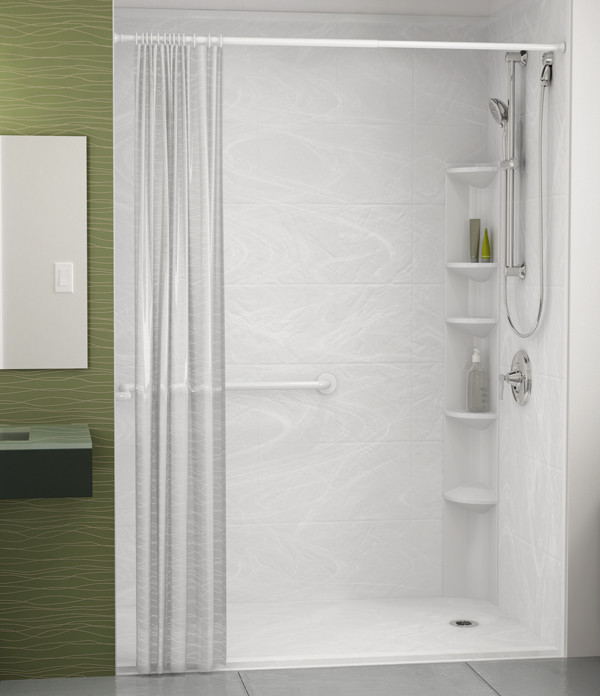 front view tub-to-shower conversion with curtain and white marble wall