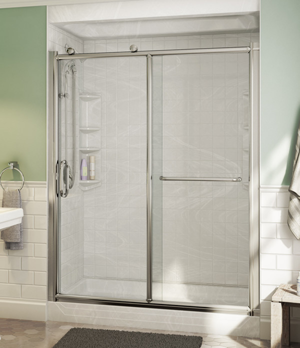 front view tub-to-shower conversion with Napoli wall